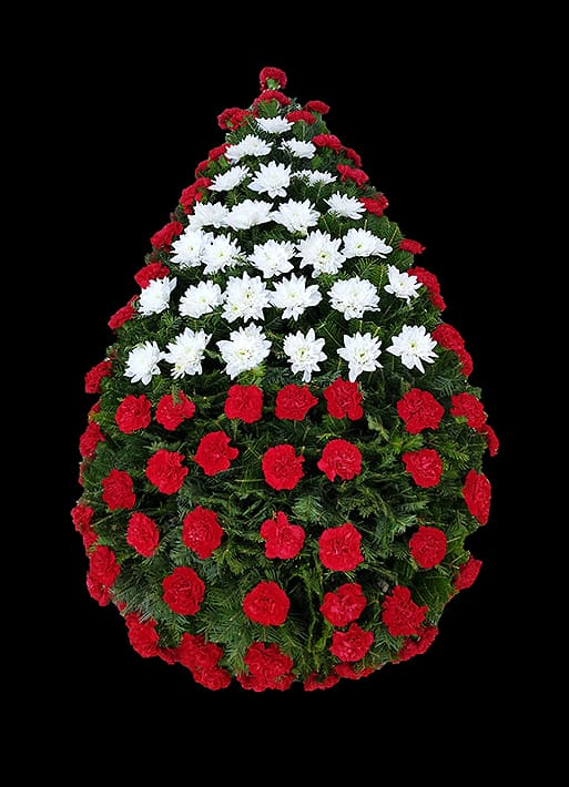 Coroana funerara - garoafe rosii si crizanteme albe