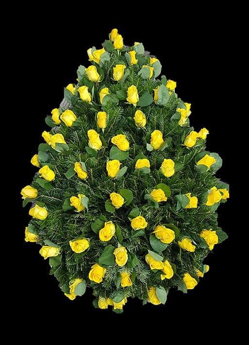 Coroana Funerara - Trandafiri Galbeni