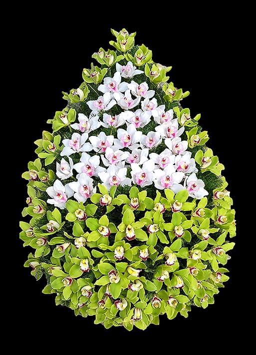 Coroane Funerare F24 - Orhidee verzi si albe