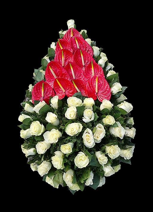 Coroane Funerare F24 - Trandafiri si Anthurium