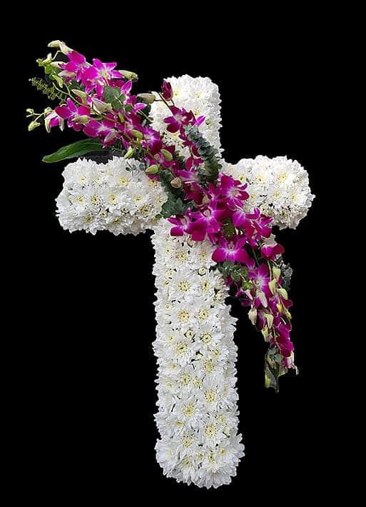 Cruce funerara crizanteme si orhidee