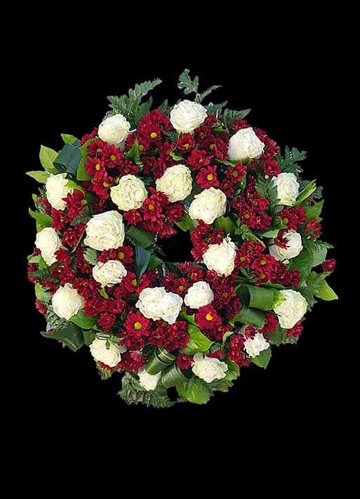Aranjament Funerar A06 - Trandafiri si Crizanteme Bordo