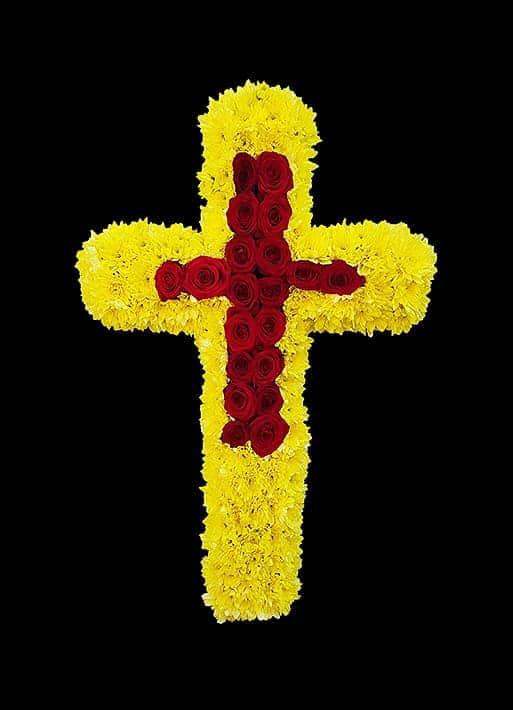 Cruce funerara crizanteme si trandafiri